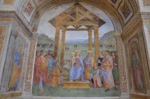 Natività del Perugino che si trova nella chiesa della Madonna delle Lagrime a Trevi ( PG)